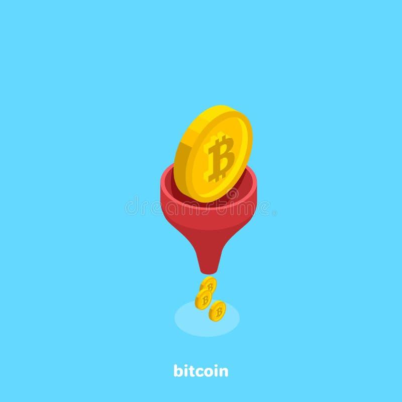 Монетка Bitcoin падает в моча чонсервную банку и приходит из ее в малых монетках иллюстрация вектора