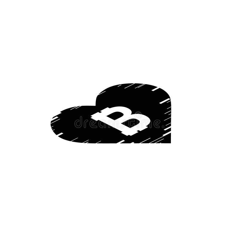 Монетка Bitcoin с линиями движения быстрой скорости и сердцем небольшого затруднения равновелико иллюстрация штока