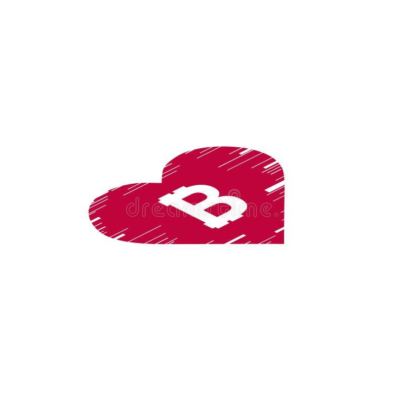 Монетка Bitcoin с сердцем небольшого затруднения равновелико вектор иллюстрация штока