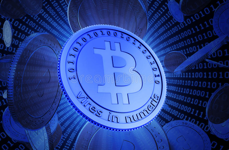 Монетки бита, виртуальная валюта бесплатная иллюстрация