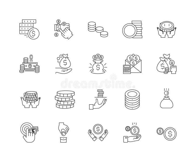 Монетки выравнивают значки, знаки, набор вектора, концепцию иллюстрации плана бесплатная иллюстрация