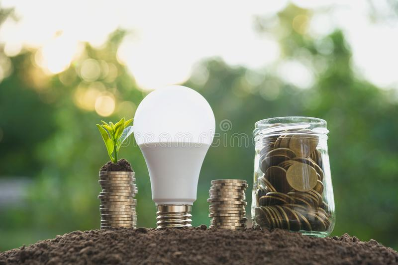 Монетки в опарнике с деньгами и электрической лампочкой шага стога денег растущими, стоковая фотография rf