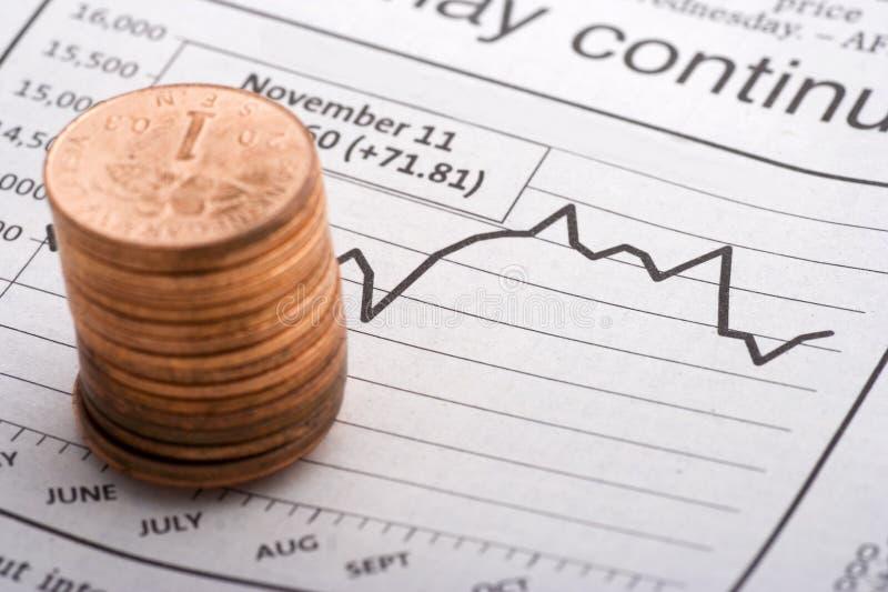 монетки диаграмм сверх стоковая фотография rf