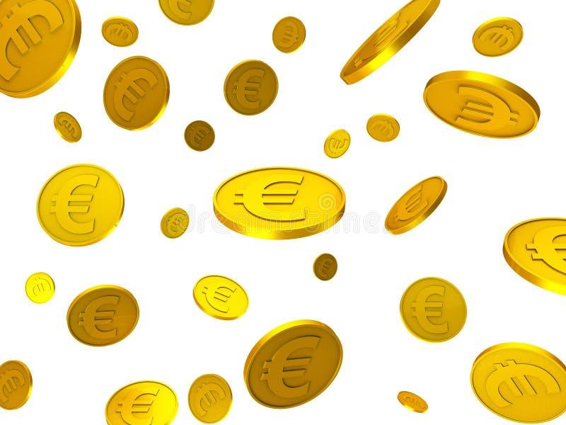 Монетки евро показывают финансовые евро и финансирование иллюстрация штока