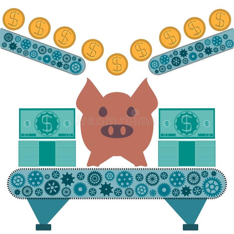 Монетки золотого доллара свертывают к копилке свиньи бесплатная иллюстрация