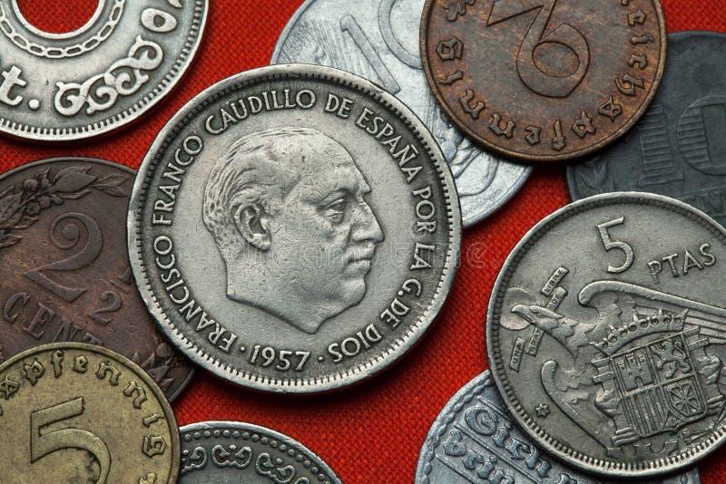 Монетки Испании Испанский диктатор Франсиско Франко стоковая фотография rf