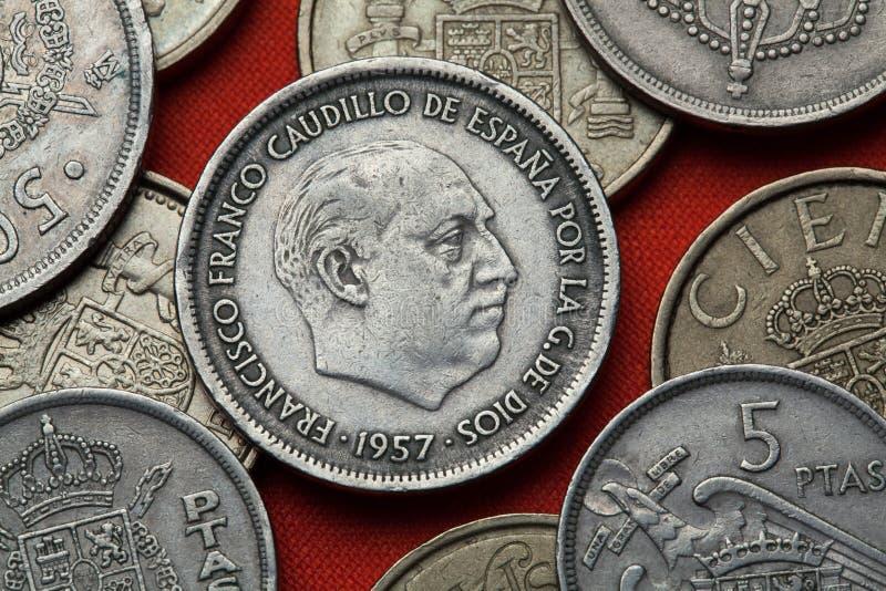 Монетки Испании Испанский диктатор Франсиско Франко стоковые фотографии rf