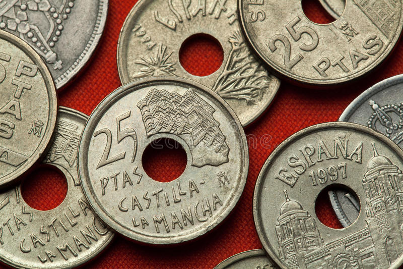 Монетки Испании Касы Colgadas в Cuenca, Кастили-Ла Mancha стоковые изображения rf