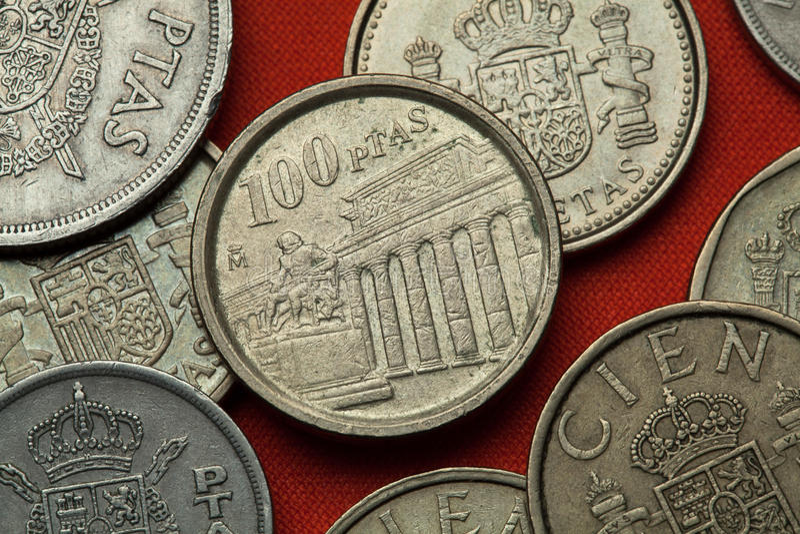 Монетки Испании Музей Prado стоковое изображение