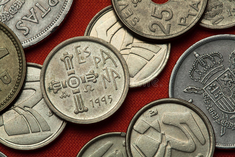 Монетки Испании Asturian средневековое Ла Виктория Cruz de стоковое фото rf