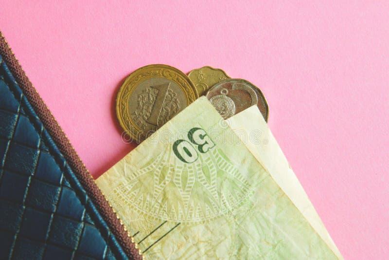 Монетки и банкноты различных стран в голубом бумажнике на розовой предпосылке стоковые изображения