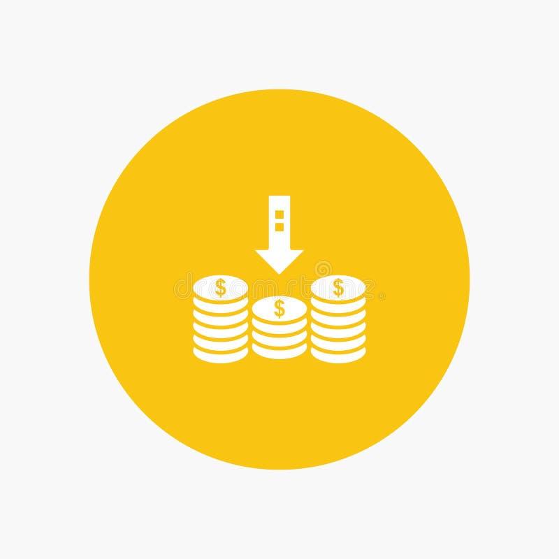 Монетки, наличные деньги, деньги, спуск, стрелка иллюстрация вектора