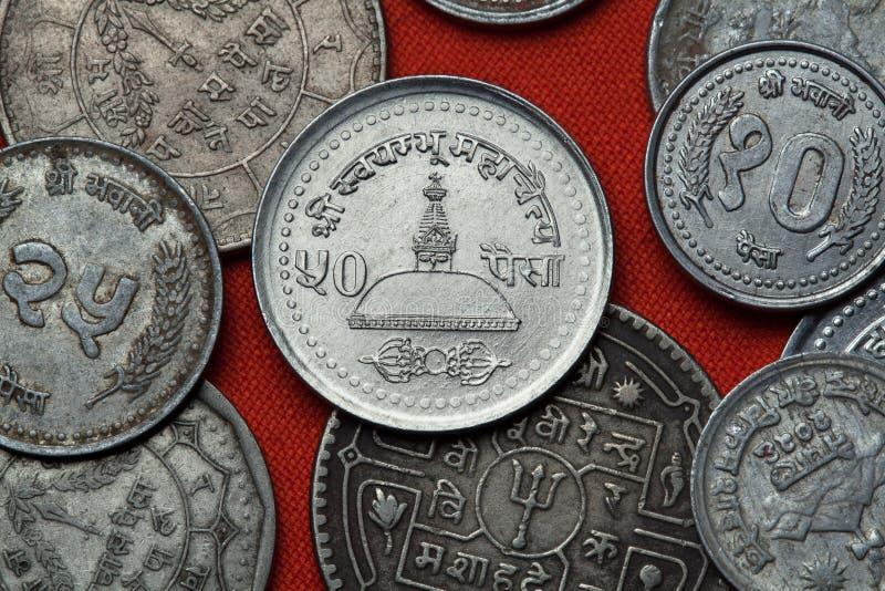 Монетки Непала висок swayambhunath kathmandu стоковые изображения