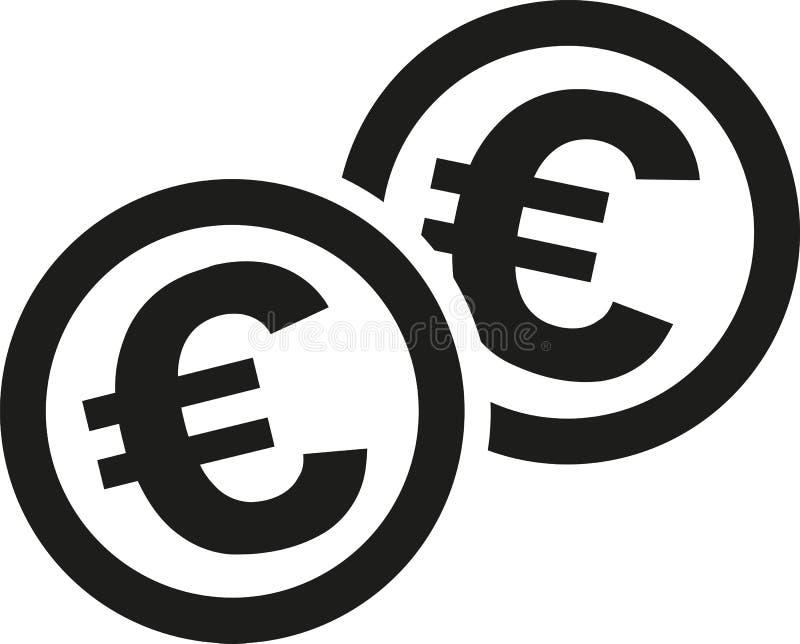 Монетки с знаками евро иллюстрация вектора