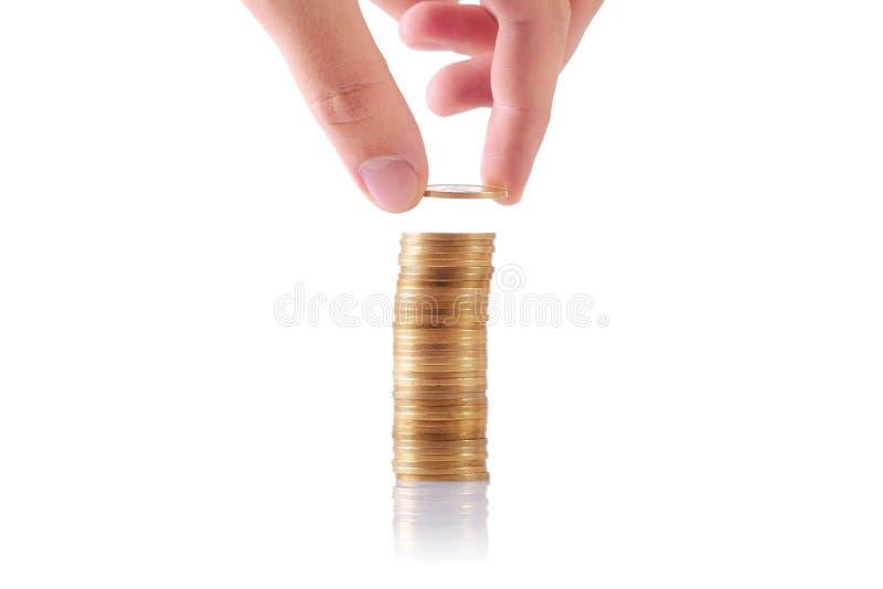 монетки увеличивая стог стоковое фото rf
