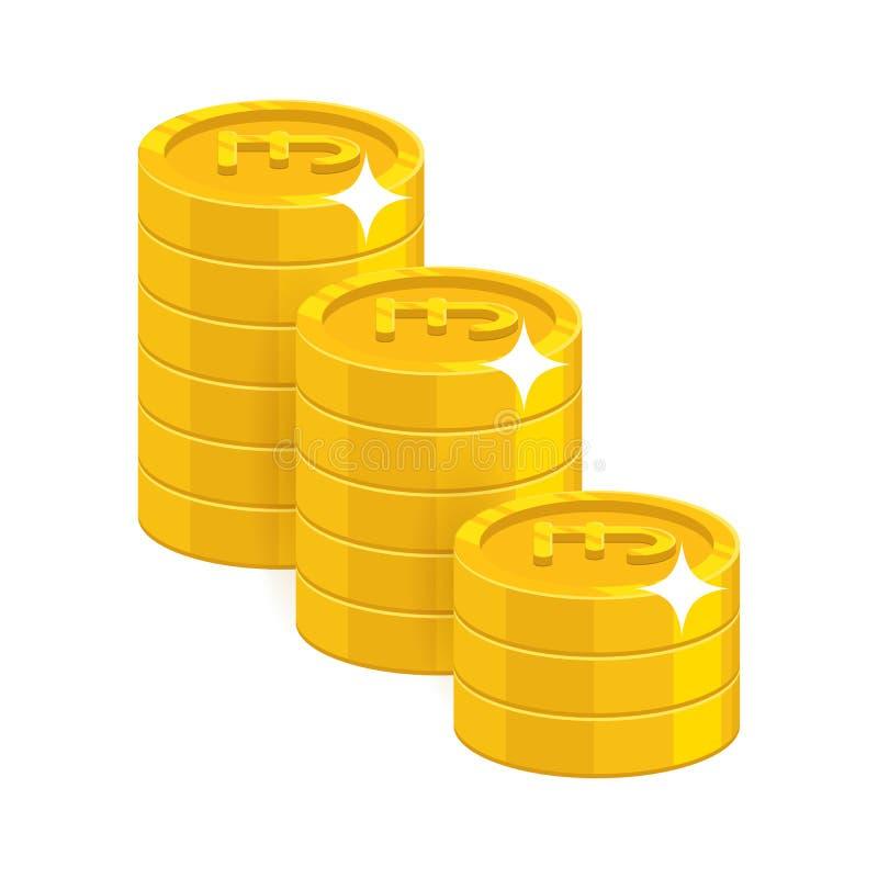 Монетки фунта золота иллюстрация вектора