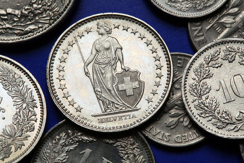 Монетки Швейцарии стоковое изображение
