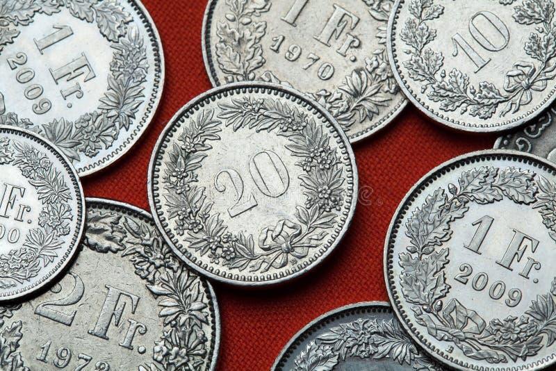Монетки Швейцарии стоковая фотография