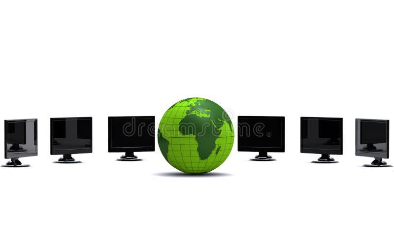 мониторы lcd глобуса зеленые иллюстрация вектора
