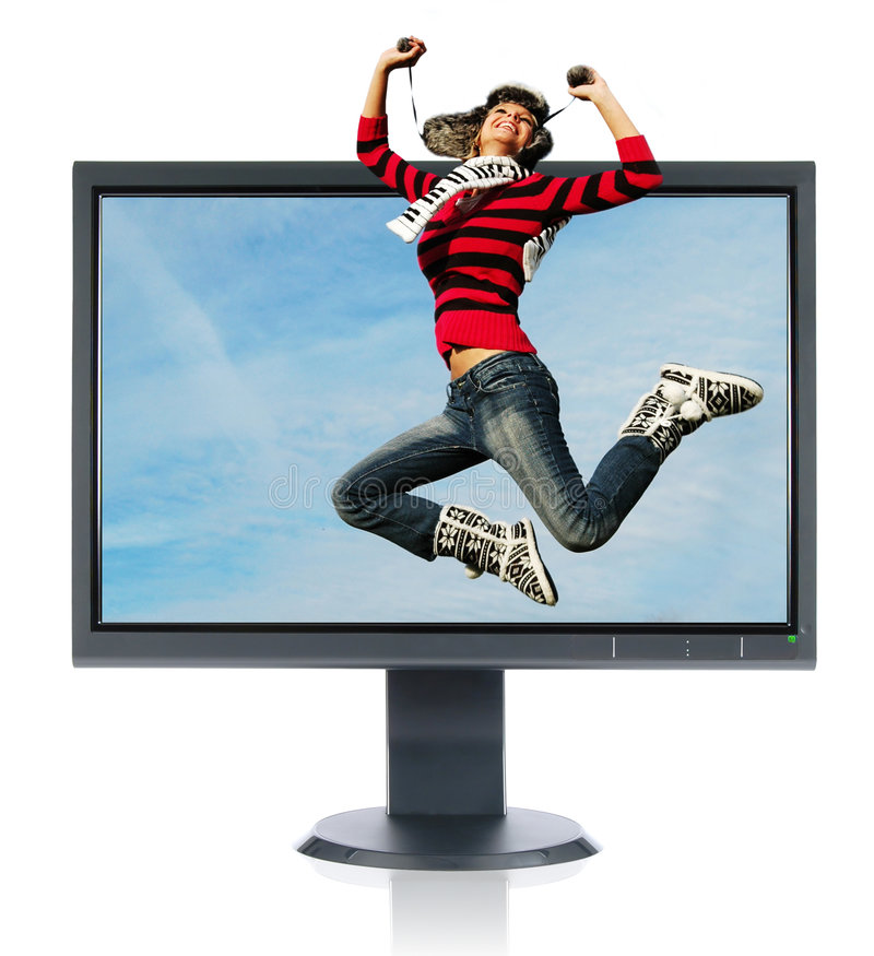 монитор девушки скача стоковое изображение