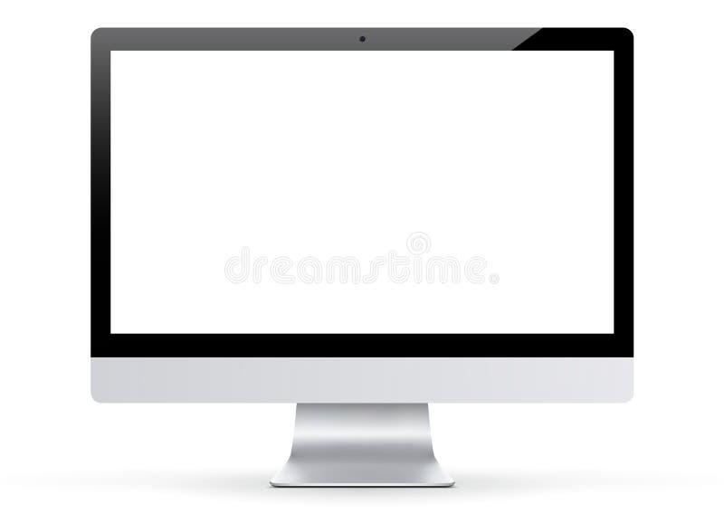 Монитор компьютера - пустая рамка черноты широкого экрана LCD иллюстрация вектора