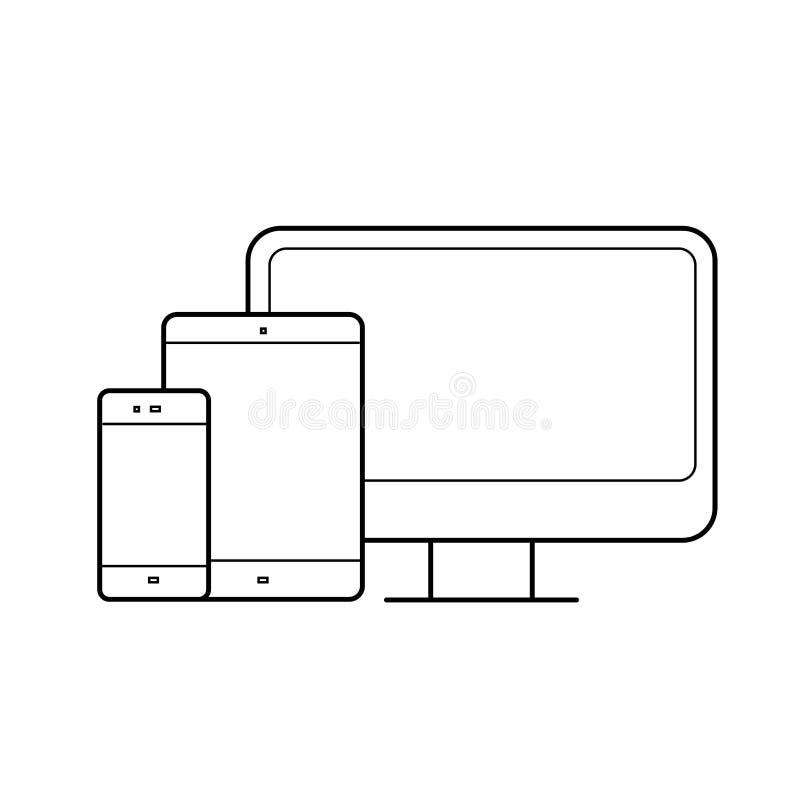 Монитор компьютера, таблетка, приборы телефона выравнивает значок иллюстрация штока