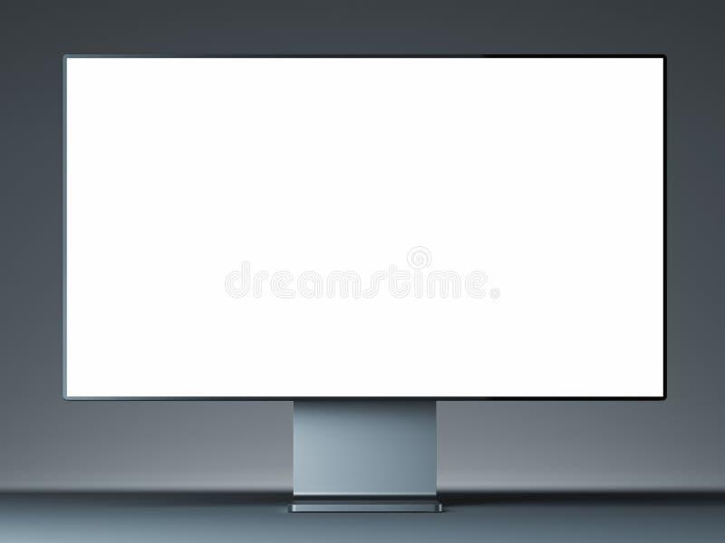 Монитор металла современный с пустым экраном на светлой предпосылке r иллюстрация вектора