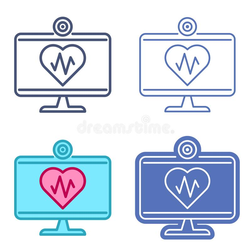 Монитор настольного компьютера с символом сердца План i вектора телемедицины иллюстрация вектора