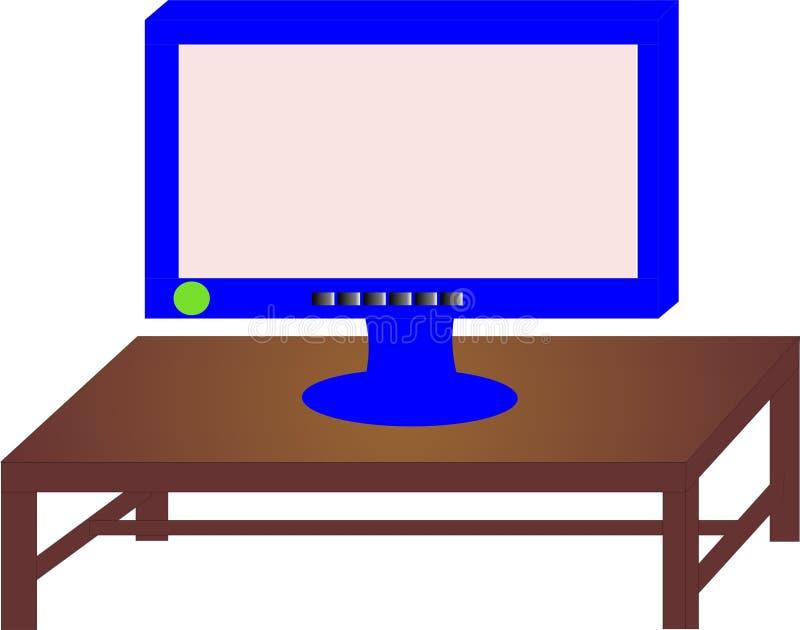 Монитор на столе иллюстрация вектора