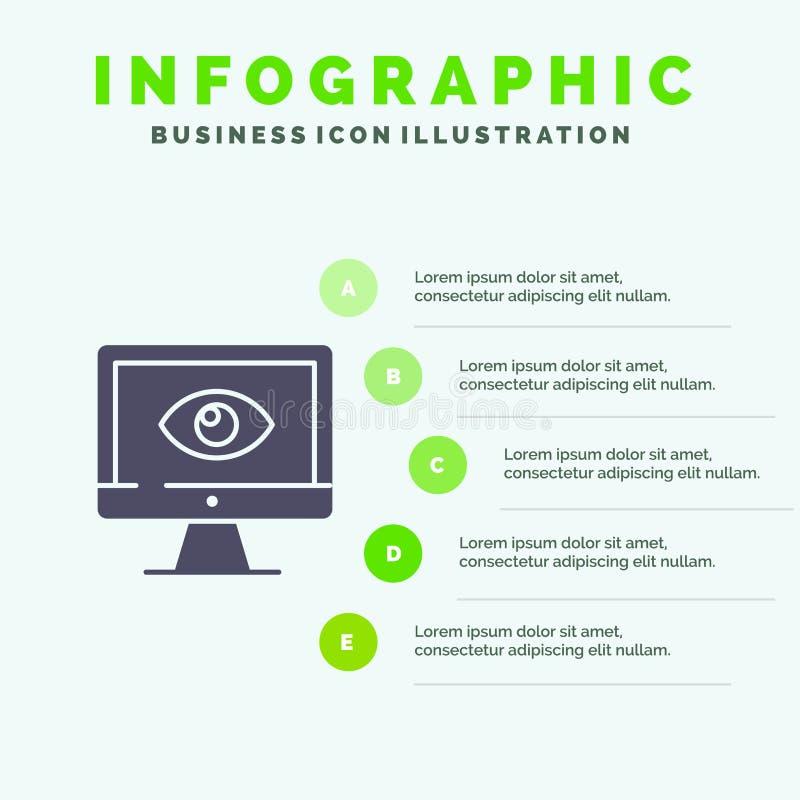 Монитор, онлайн, уединение, наблюдение, видео, предпосылка представления шагов Infographics 5 значка дозора твердая иллюстрация вектора