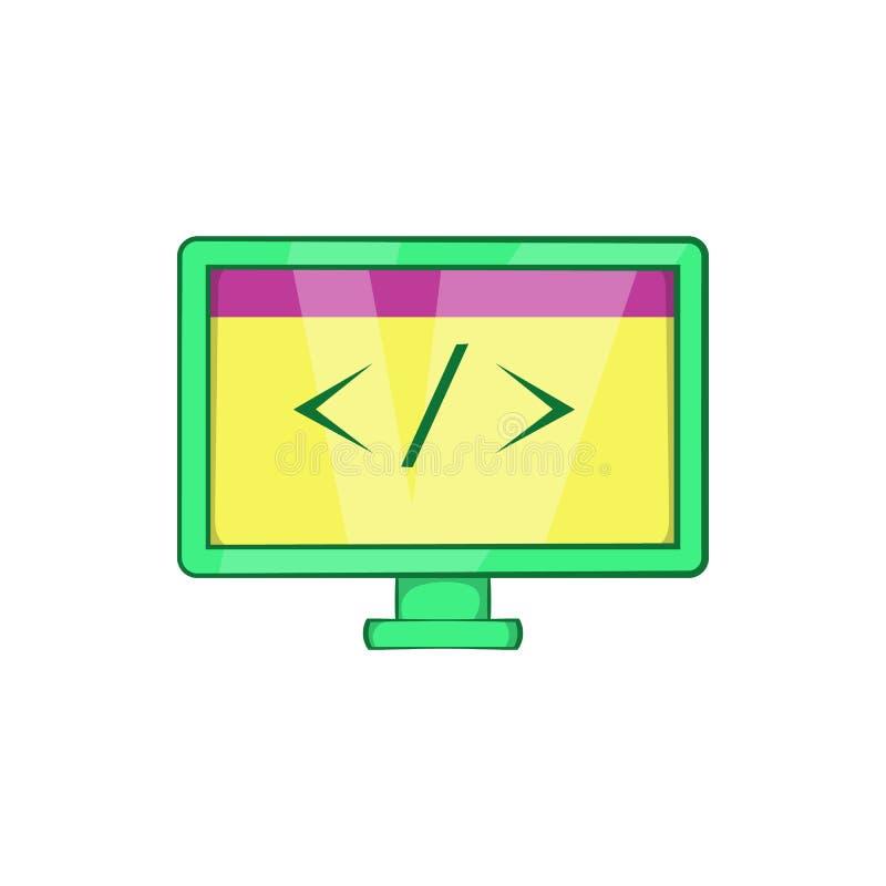 Монитор с значком знака левым, стилем шаржа иллюстрация вектора