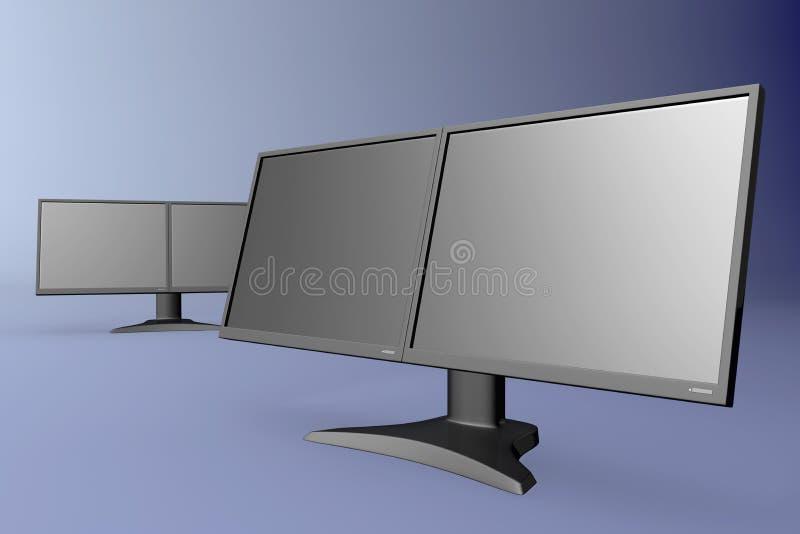 монитор черного дисплея двойной иллюстрация вектора