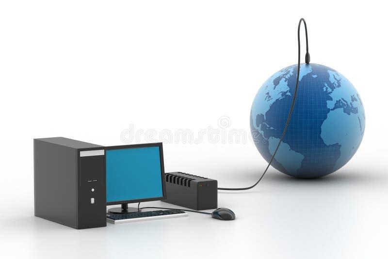 Монитор LCD соединенный к земле бесплатная иллюстрация