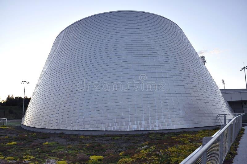 Монреаль, 27-ое июня: Парк олимпийский с планетарием Рио Tinto Alcan от Монреаля в провинции Квебека Канады стоковые фото