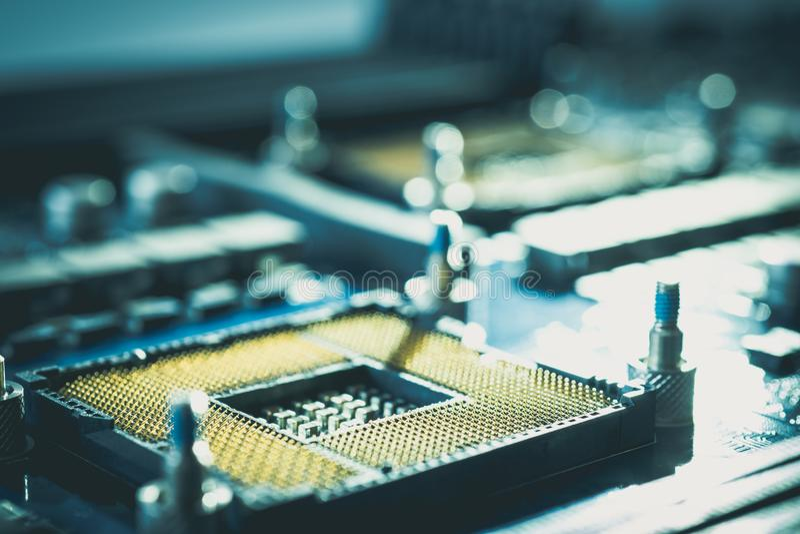 Монтажная плата радиотехнической схемы оборудования концепция стиля технологии semi стоковая фотография rf