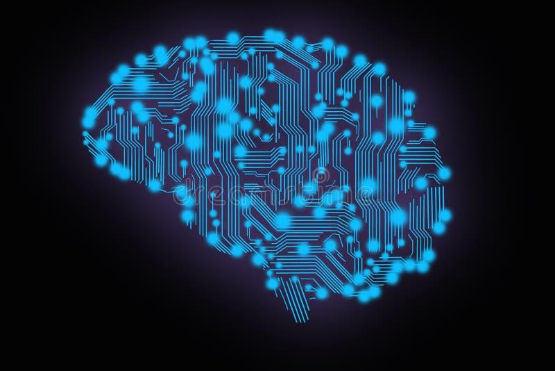 Монтажная плата в форме мозга иллюстрация вектора