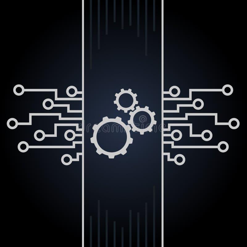Монтажная плата и вектор шестерней на черной предпосылке Дизайн материнской платы и компьютера иллюстрация вектора