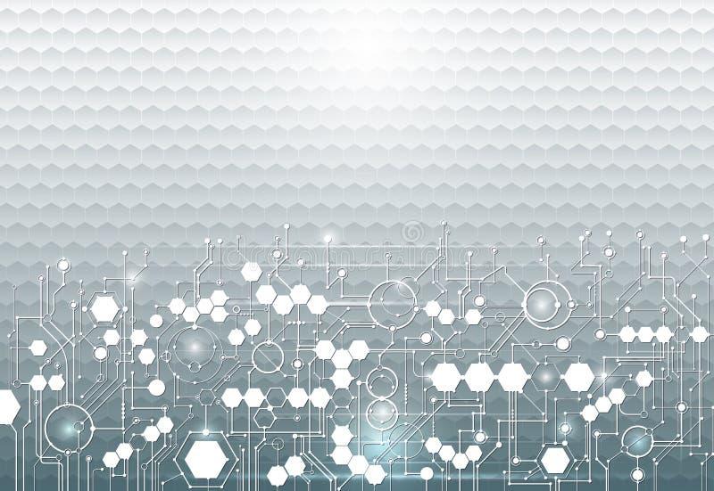 Монтажная плата иллюстрации вектора на предпосылке шестиугольников технология и инженерство Высок-техника цифровая иллюстрация вектора