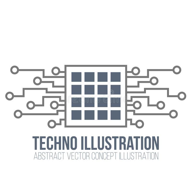 Монтажная плата на белой предпосылке Процессор и обломок, инженерство и техник, материнская плата и компьютер конструируют, иллюс иллюстрация вектора