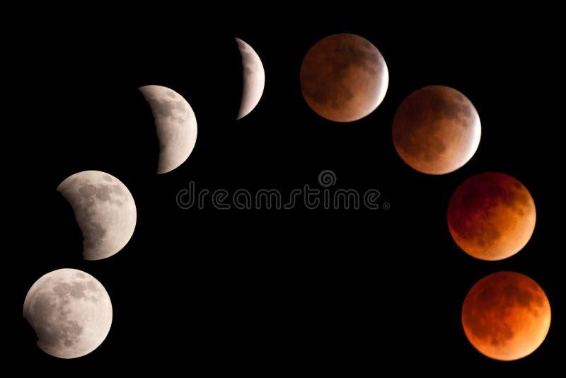 Монтаж лунного затмения стоковые изображения rf