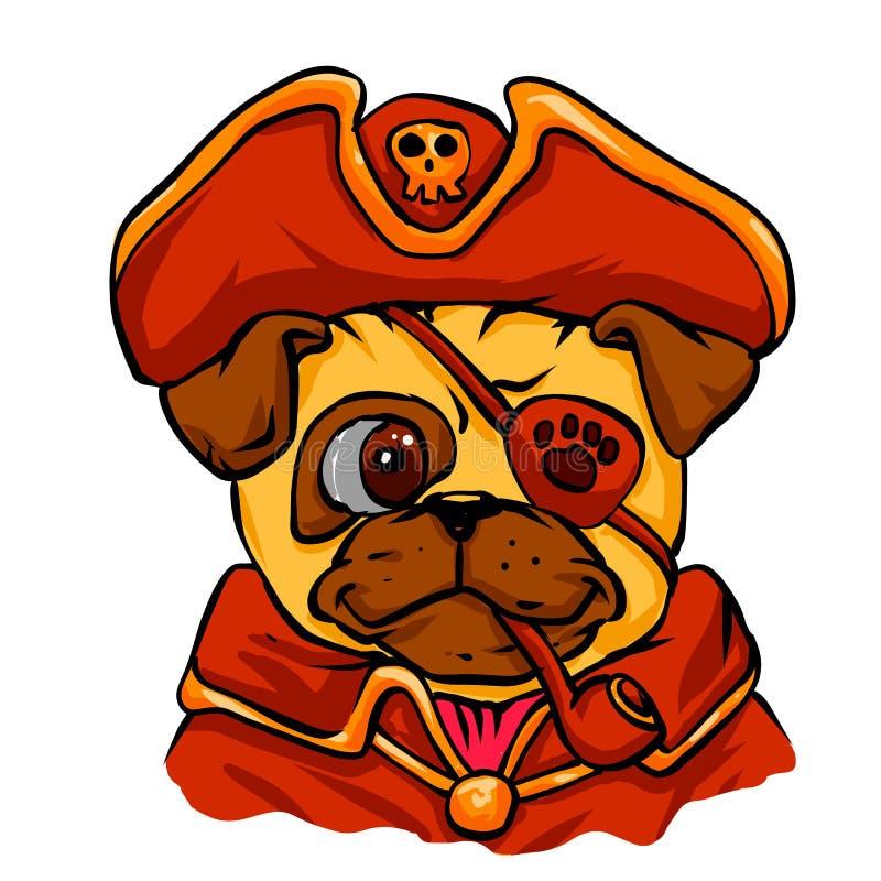 Мопс пирата Мопс шаржа смешной pug бесплатная иллюстрация