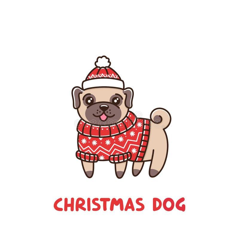 Мопс породы собаки Юта ¡ Ð в свитере и шляпе справедливого острова красном иллюстрация вектора