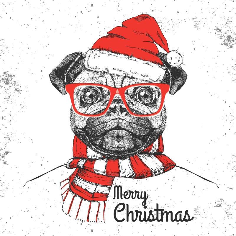 Мопс-собака моды битника рождества животная одела шляпу Нового Года иллюстрация вектора