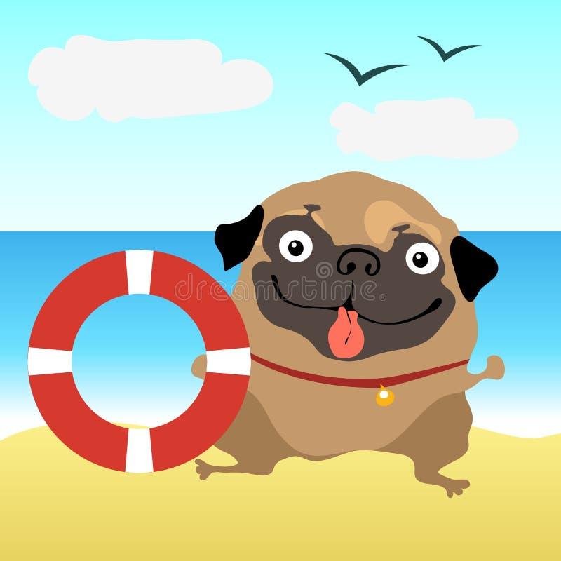 Мопс собаки на пляже иллюстрация вектора