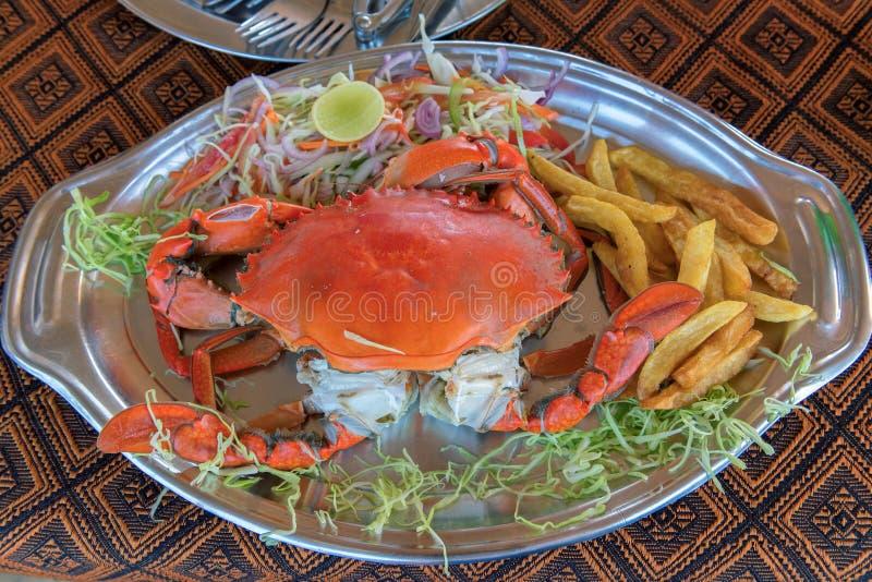 Морепродукты блюда краба в еде обедающего ресторана стоковые изображения rf