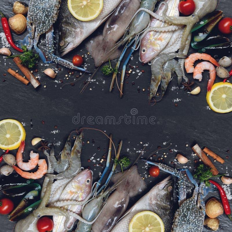 Морепродукты морепродуктов смешивания свежие сырцовые с травами и лимоном специй на темной предпосылке стоковое изображение rf