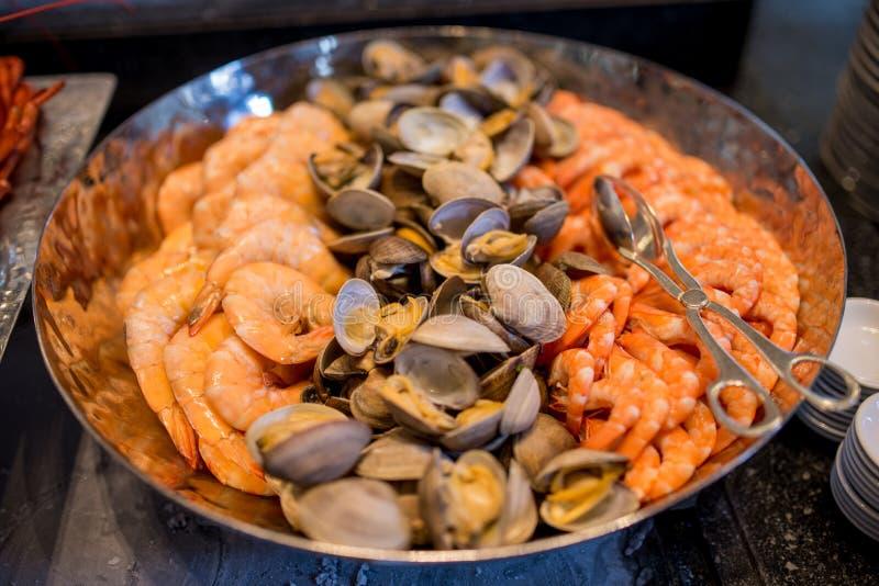 Морепродукты мидии моллюска креветки стоковое изображение