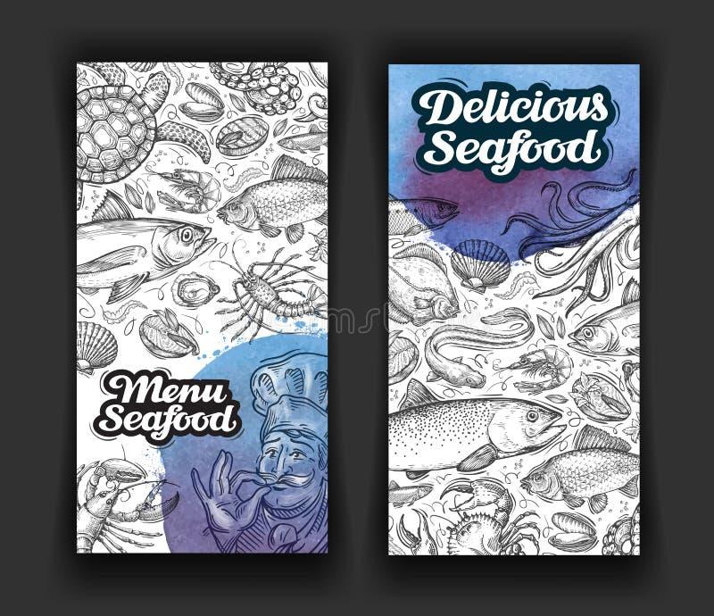 Морепродукты Ресторан меню дизайна шаблона, обедающий Еда нарисованная рукой иллюстрация вектора