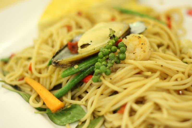 Морепродукты Spagetti стоковые изображения rf