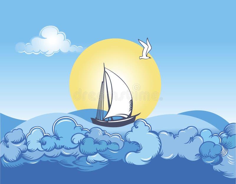 море ветрила иллюстрация штока